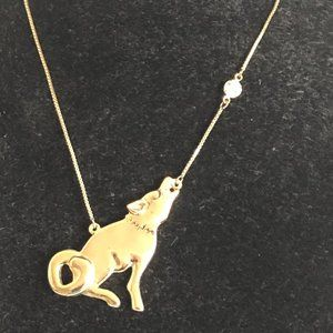 Betsey Johnson howling coyote wolf necklace